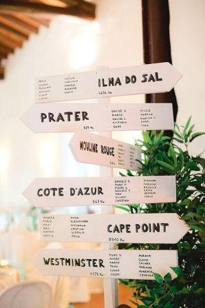 Tableau de mariage con cartelli