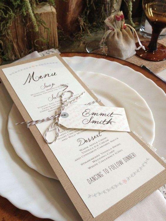 Menù nozze sopra il piatto