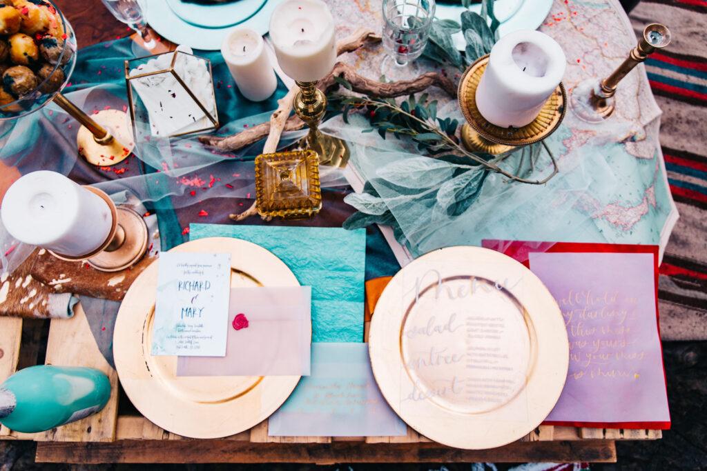Table setting ricevimento di nozze